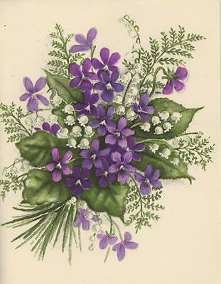 VINTAGE WHITE LILY OF THE VALLEY FLOWERS PURPLE VIOLETS FERNS SPRING CARD PRINT