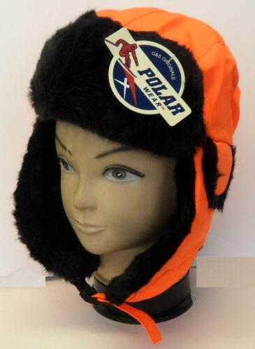NWT Adult Aviator Faux Fur Blaze Orange Hunting Winter Cap Hat
