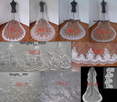 5 Style 1T new Elegant Lace/paillettes ivory Cathedral wedding bridal bride veil