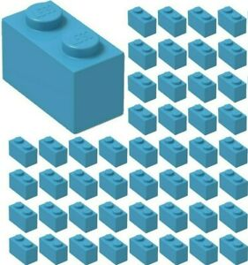 FREE SHIPPING! LEGO 1X2 PLATES DARK AZURE LOT OF 100 BRAND NEW