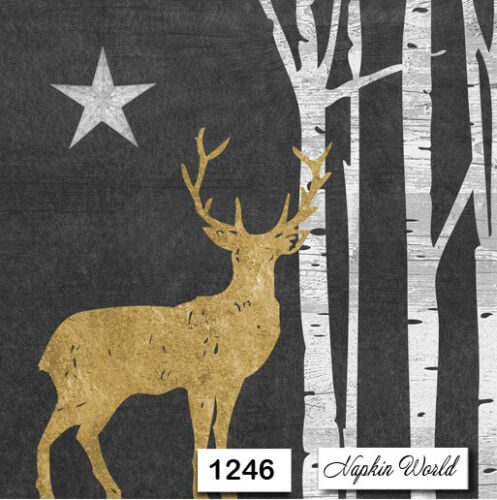 1246 TWO Individual Paper Luncheon Decoupage Napkins DEER SILHOUETTE TREES