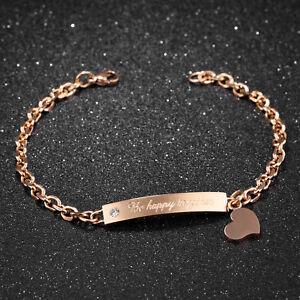 wie kommt man am besten online Outlet Store Verkauf Edelstahl Damen Armband Herz Anhänger Gravurplatte ...