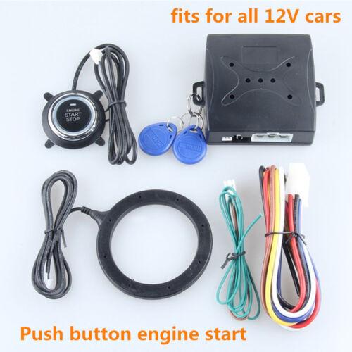 RFID Car Alarm System Push Button Start Keyless go Transponder Immobilizer DC12V