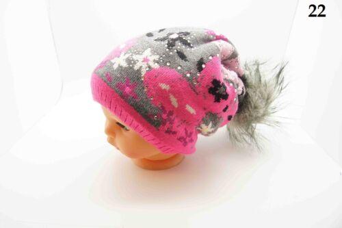 New Kids Girls Hat Toddler Stylish Winter Beanie Knitted Hat Cap Warm Ribbon