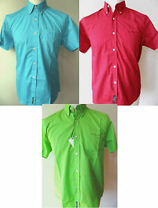 BEN-SHERMAN-Shirts-Boys-youths-S-S-Plain-Brights-Lime-Green-Red-Turquoise-M-L-XL