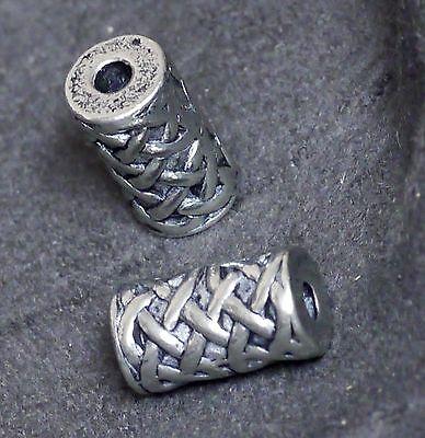 2od.4 Stück Zinn Perlen Handgegossen Künstlerperle keltik Zylinder 15 mm L 2,5mm