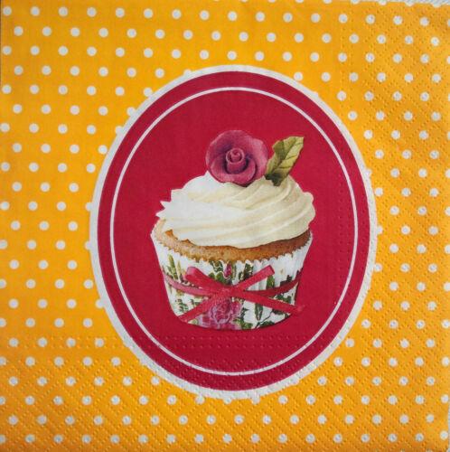 4 x single vintage table serviettes en papier pour découpage ou parti-Muffin