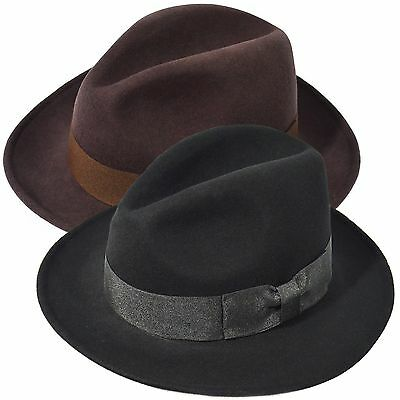 Indiana Jones Men's 100% Wool Felt Flat Wide Brim Fedora Hat Cowboy Dress Cap