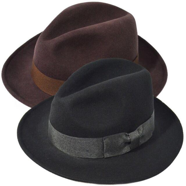 Indiana Jones Men's 100% Wool Felt Flat Wide Brim Fedora Hat Cowboy Dress Cap