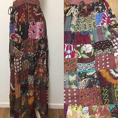 Handmade Patchwork Coton Robe Boho Maxi Batik Festival rétro vintage hippy FT1