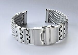 Luxury-22mm-Heavy-Duty-Shark-Mesh-Brushed-Stainless-Steel-Watch-band-Bracelet