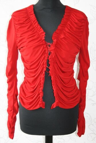 uk12 Shirt neck Stretchy Ruched up V Red Hot Paris M Blouse V Miss top New Lace 4w0aPqFRB