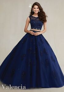 Navy-Blue-Two-Piece-Wedding-Quinceanera-Dresses-Custom-Beads-Lace-Prom-Dresses