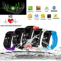Smart Watch Heart Rate Monitor Pedometer Fitness Wristband Bracelet Bluetooth