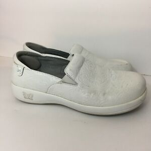 Alegria Keli Tooled White Leather Clog