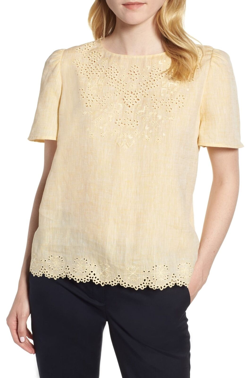 Nordstrom Signature 153388 Women's Embroidered Eyelet Top Yellow Sz. Small