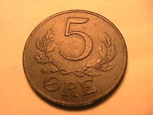 1942 Denmark 5 Ore Ch VF+/XF Lustrous Scarce Christian X Danish WWII Era Coin