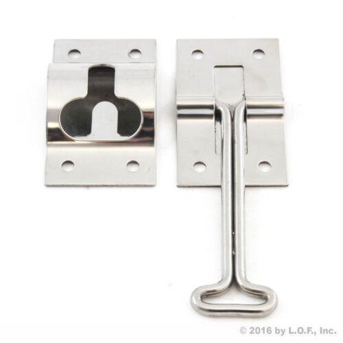 "Door Catch Trailer Stainless 4/"" T-Style Entry Holder Bracket Hook Keeper Steel"