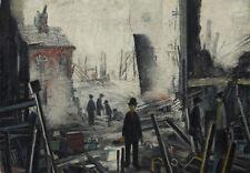 Incorniciato LS Lowry stampa-Blitzed sito (FOTO pittura inglese artista opera d'arte)