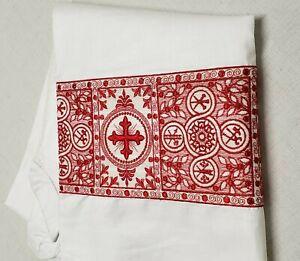 Vintage-Alba-Irlandes-Lino-Traje-Bordado-Banda-Orphrey-Rojo-Encendido-Cojos-M-2