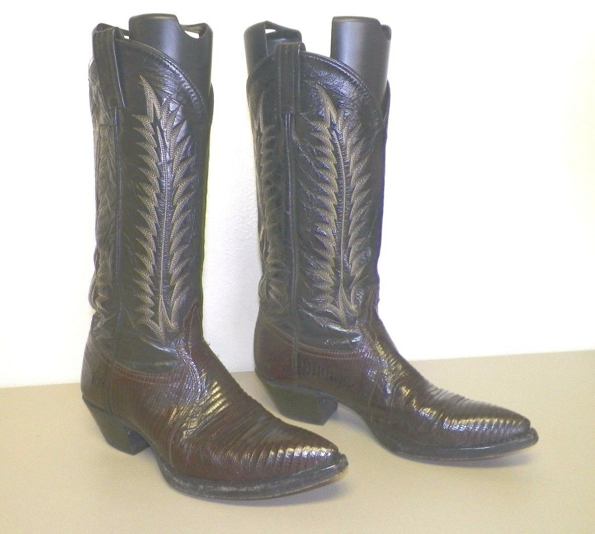 MEN'S TONY LAMA BLACK & BROWN LEATHER WESTERN COWBOY BOOTS SIZE 6 1 2 GOOD USED