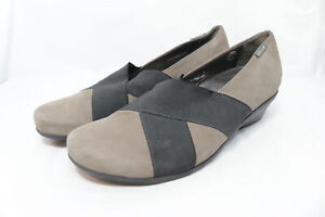 Mephisto-Air-Jet-Gray-amp-Black-Suede-Leather-Shoes-Low-Wedge-Heel-Sz-10