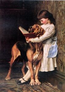 Dream-art Oil painting nice young girl reading book with her pet dog on canvas