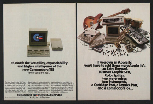 1985 COMMODORE 128 Personal Computer Versus Apple Computers 2 Page VINTAGE AD
