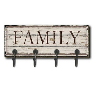 Image Is Loading WALL COAT HOOKS FAMILY WORD DESIGN WOODEN SHABBY