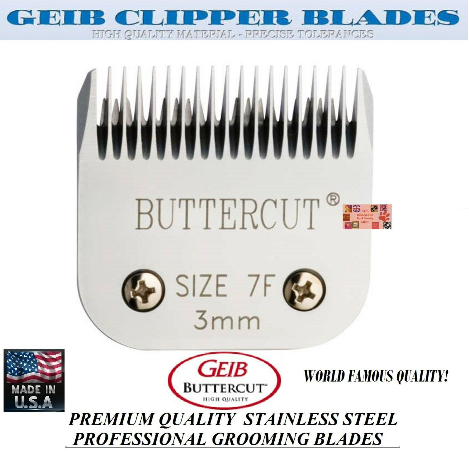 GEIB BUTTERCUT STAINLESS STEEL 7F BLADEFit Oster A5 A6,MOST Wahl,Andis Clipper