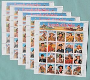 Five Sheets x 20 = 100 LEGENDS OF THE WEST 29¢ US PS Postage Stamps. Sc 2869 a-t