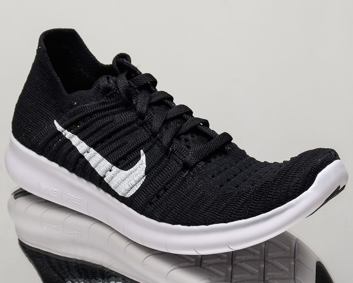 Nike WMNS Free RN Flyknit womens run running shoes NEW black white 831070-001 Wild casual shoes