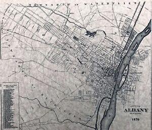 Albany, NY 1876 Detailed Street Map | eBay