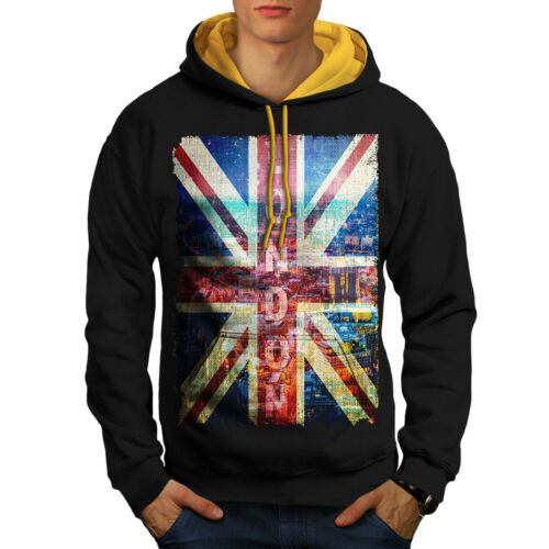 New Men Contrast Black gold Hoodie Art Hood London England wB4WnqP41