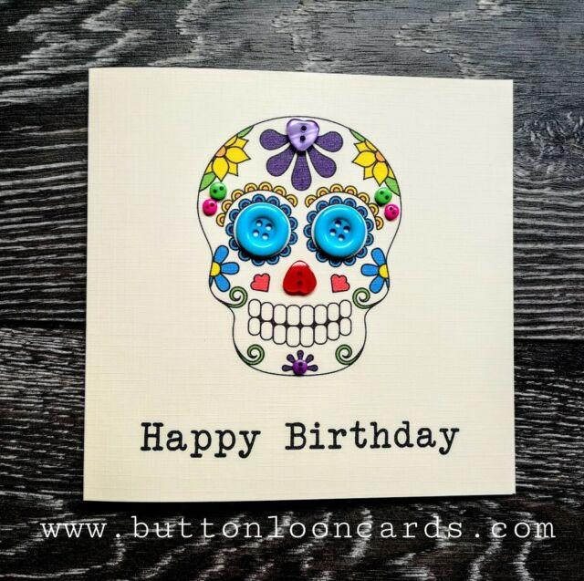 Day of the Dead Handmade Personalised Birthday Card Sugar Skull