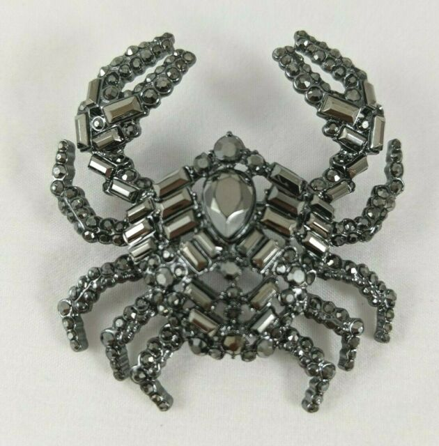 Simply Vera Wang Goth Silver Crab Pincers Gunmetal Gray Jeweled Brooch Pin NWT