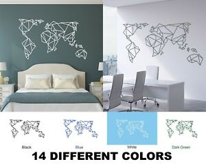 c54bfe632 Image is loading Origami-Large-World-Map-Wall-Stickers-Countries-Decals-