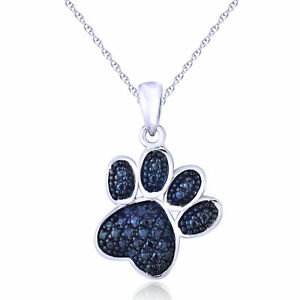 Cyber-Monday-Blue-Diamond-Accent-Dog-Paw-Pendant-Necklace-14K-Gold-Over-Silver