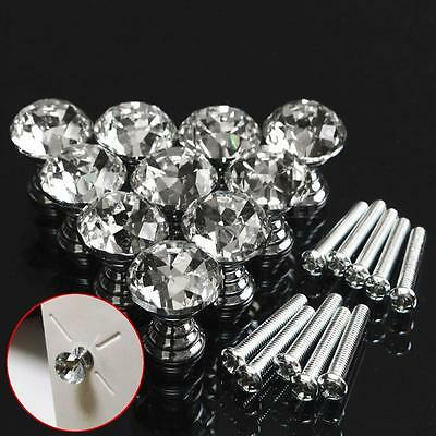 10pcs 20mm Round Crystal Glass Cabinet Knobs Wardrobe Door Knobs Pull Handle