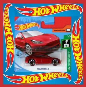 HOT-WHEELS-2019-Tesla-Model-3-green-Speed-174-250-neu-amp-ovp