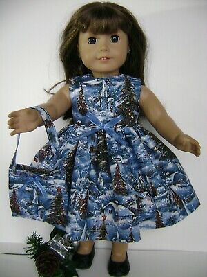 Blue dress fits American Girl doll  Handmade  New