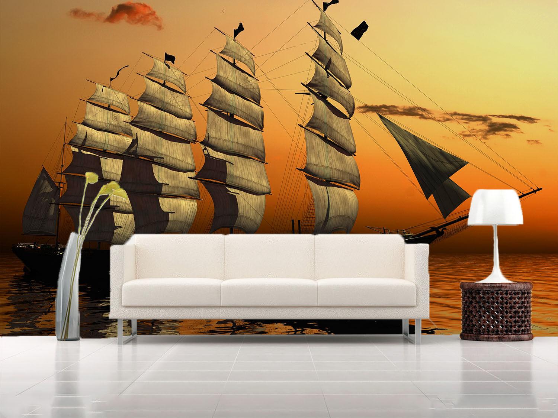 3D Big Sailboat Sea Painting 64 Wall Paper Wall Print Decal Wall AJ WALLPAPER CA