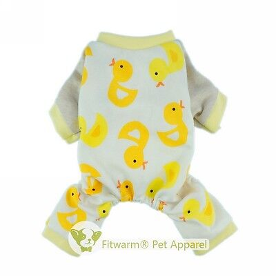 Fitwarm Yellow Ducks Dog Pajamas Small Medium Pet Clothes Shirt Free Shipping