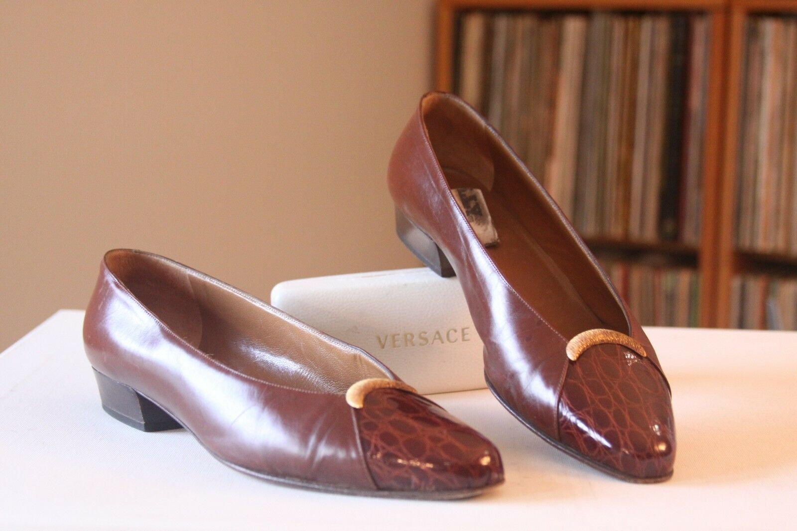 BALLY en cuir marron croco Cap Toe or Accent Escarpins Taille 8.5 M MADE IN ITALY