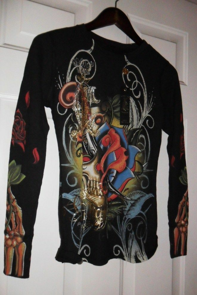 Christian Audigier winter waffle L S rhinestone thermals made in USA. BLK MEDIUM