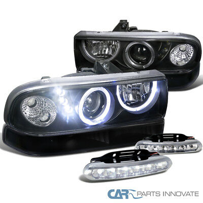 98-04 S10 Blazer Black Halo Projector Headlights+Bumper Lamps+6-LED Fog Lamps