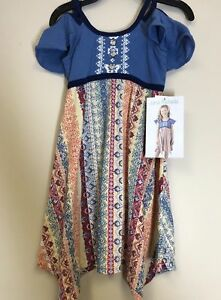 Jona-Michelle-Girls-Sleeveless-Summer-Dress-Blue-with-Floral-Size-6-NWT