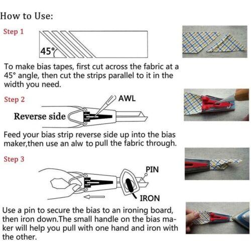 60PCS Fabric Bias Tape Maker Sewing Binding Quilting Tool Presser Foot Kit Craft