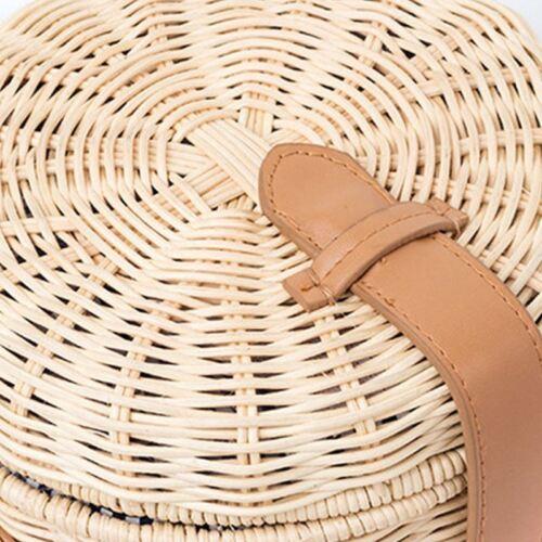 Women Straw Bag Bohemian Bali Rattan Beach Handbag Small Circle Lady Vintag J1O8