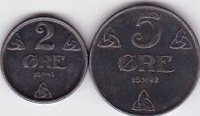 2 und 5 Öre Norwegen 1943 und 1942 Eisen Haakon VII Norway prima Erhaltung